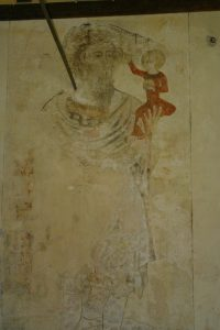 Wall painting of St Christopher
